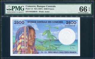 Comoros 2500 Francs P13 Pmg Gem Uncirculated 66 Epq photo