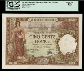 Tt Pk 9a 1927 French Somaliland 500 Francs Banque De L ' Indo Chine Scarce Pcgs 50 photo