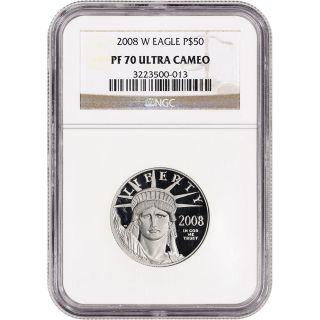 2008 - W American Platinum Eagle Proof (1/2 Oz) $50 - Ngc Pf70 Ucam photo