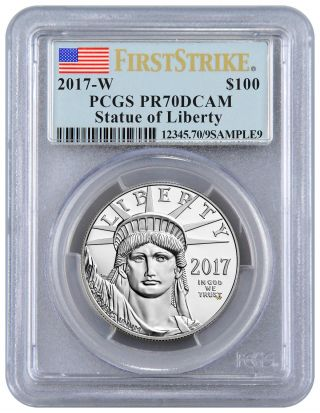 2017 - W 1 Oz Platinum Eagle Proof $100 Pcgs Pr70 Fs Dcam Flag Sku48330 photo