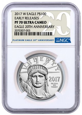 2017 - W 1 Oz Platinum Eagle Proof $100 Ngc Pf70 Uc Er 20th Anv Sku48395 photo