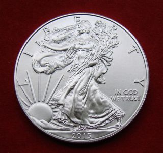 2015 Silver Dollar Coin 1 Troy Oz American Eagle Walking Liberty.  999 Fine Bu photo