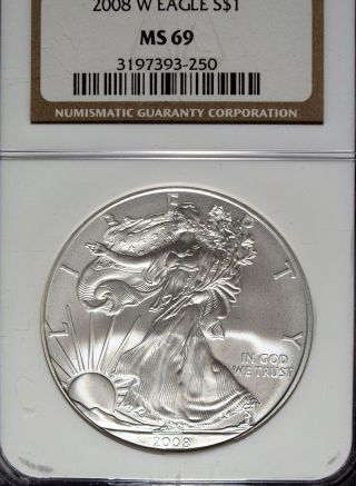 2008 W Ngc Ms 69 Burnished American Silver Eagle 1 Ounce Silver Eagle photo