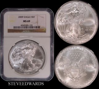 2009 Ase Ngc Ms69 American Silver Eagle photo