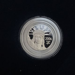2006 1/10 One Tenth Oz Proof Platinum American Eagle Coin W/ Box & photo