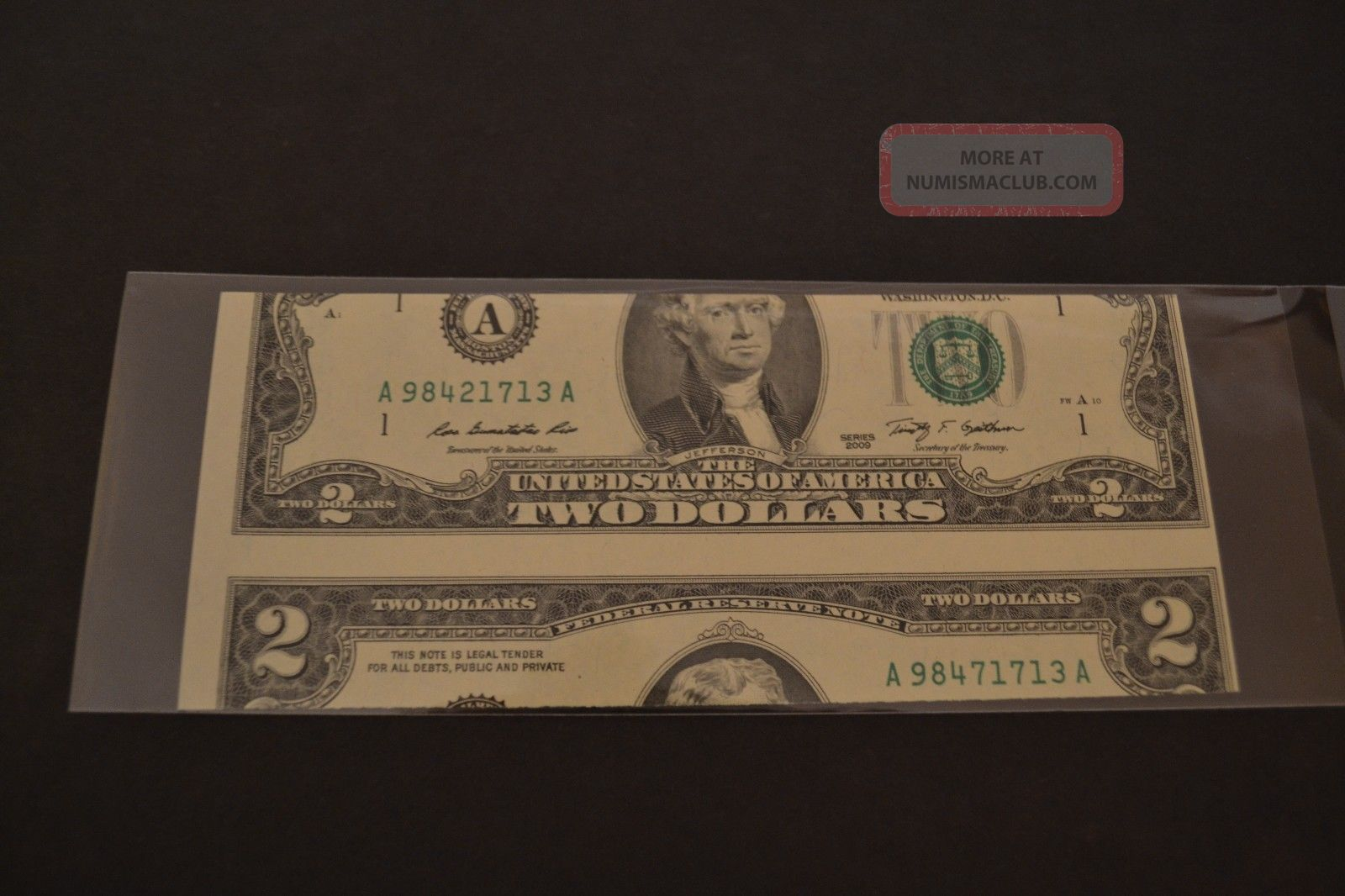 2009 Federal Reserve Note Two $2 Dollar False Cutting Error Uncirculated Wow Paper Money: US photo