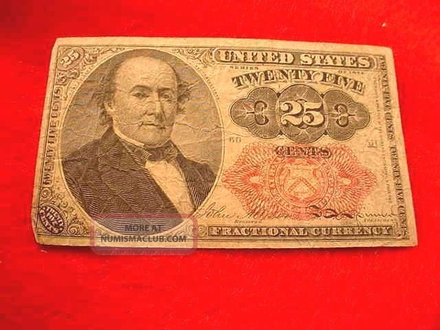 1874 25 Cents Fractional Currency 5th Issue Red Seal Note - - 18 Paper Money: US photo