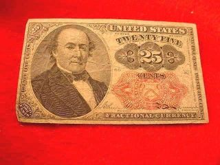 1874 25 Cents Fractional Currency 5th Issue Red Seal Note - - 18 photo
