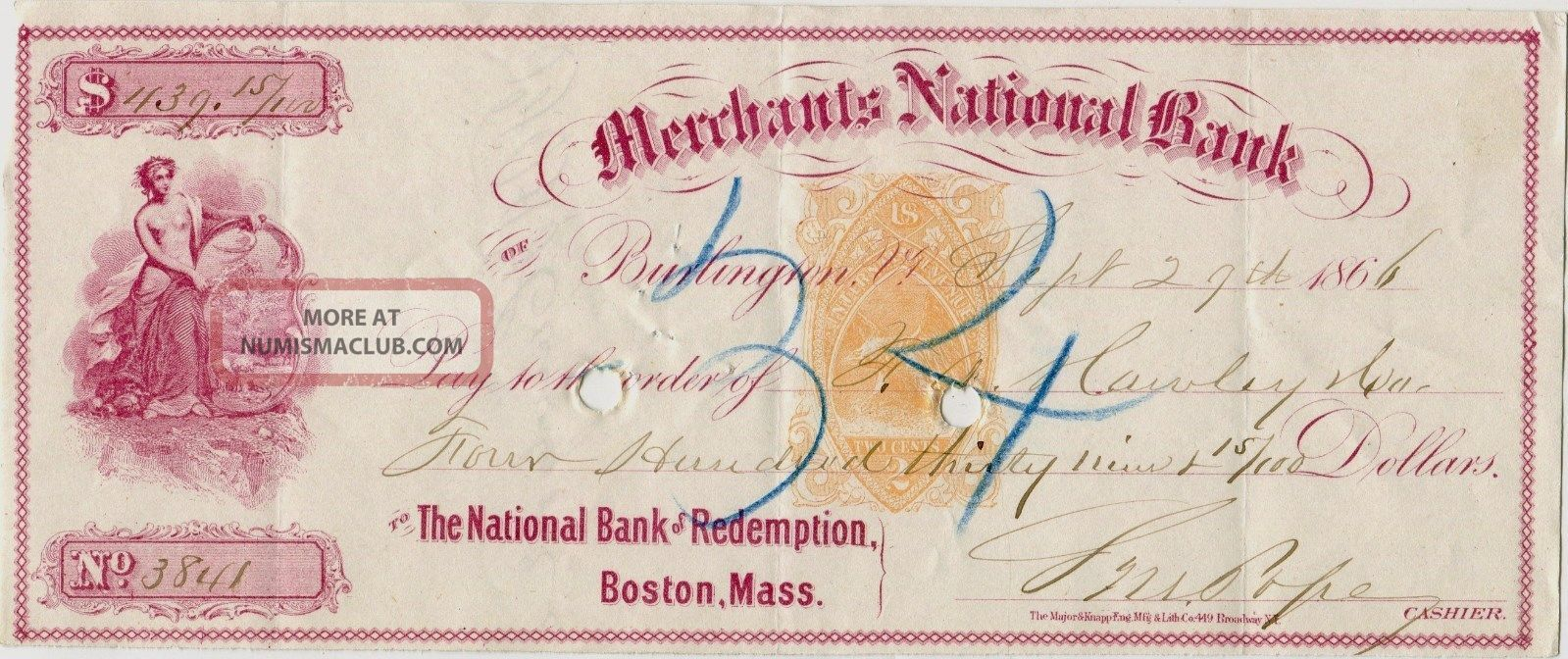 3 Merchants National Bank Burlington Vermont Bank Checks 2 Bare Breast Maidens Paper Money: US photo