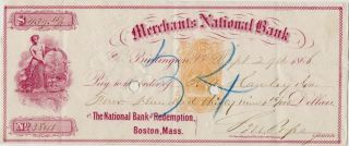 3 Merchants National Bank Burlington Vermont Bank Checks 2 Bare Breast Maidens photo
