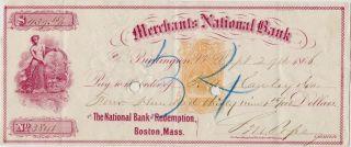 3 Merchants National Bank Burlington Vermont Bank Checks 2 Bare Breast Maidens photo