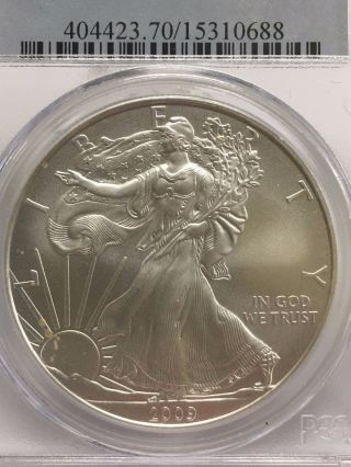 2009 Pcgs Ms 70 Silver American Eagle Dollar $1 Coin photo