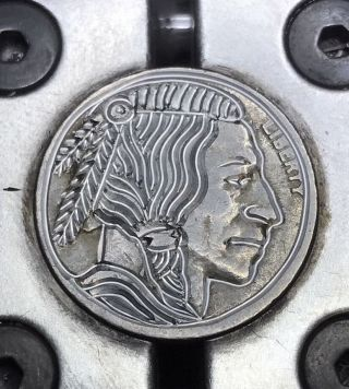 Real Hand Made Coin Art Hobo Nickel Warrior 29 photo