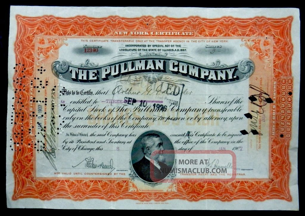 Stock Certificate 1907 Pullman Company 3 Shares Capital Illinois Transportation photo