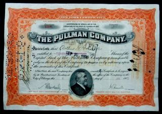 Stock Certificate 1907 Pullman Company 3 Shares Capital Illinois photo