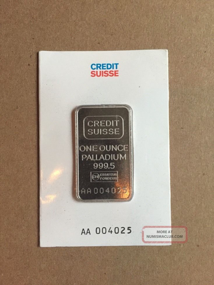 1 Ounce Credit Suisse Palladium Bar (in Assay).  9995 Pure Bullion photo