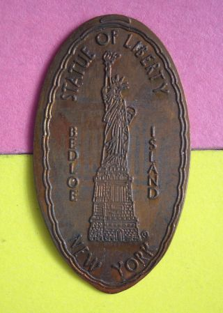 Statue Of Liberty Elongated Penny Bedloe Island York Usa Cent Souvenir Coin photo