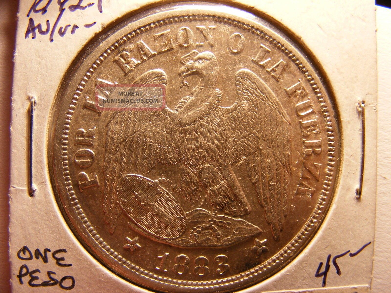 Chile Silver 1 Peso,  1883,  Au,  Coin Chile photo