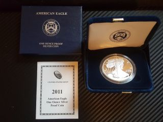 2011 W Silver Proof American Eagle Dollar 1 Oz Us & photo