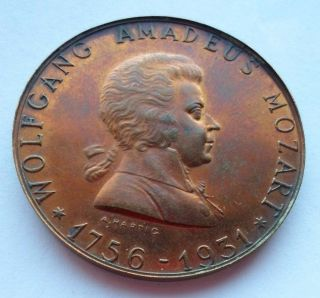Austria / 1931 Music Composer Mozart 175th Anniversary Medal By Hartig photo