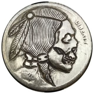 Hobo Nickel Coin Art Detailed Skull 108 photo