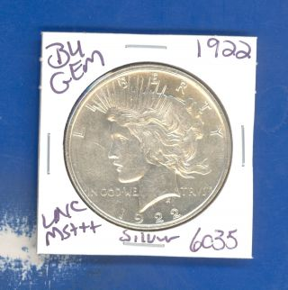 1922 P Bu Gem Peace Silver Dollar Coin 6035 $unc/ Ms,  Us Mint$rare photo