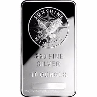 10 Oz Silver Bar - Sunshine Minting.  999 Fine Silver photo
