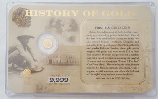 History Of Gold 14k.  5g Mini Coin First Us Gold Reserve Act In Case photo
