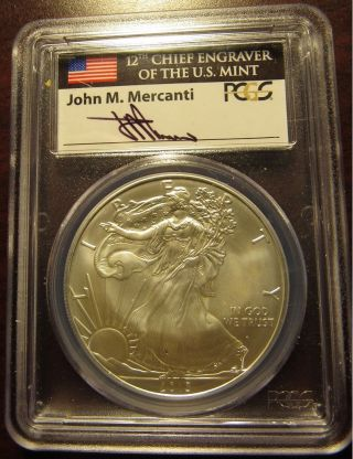 2013 American Silver Eagle Ase Pcgs Ms - 69 First Strike John Mercanti Signed photo