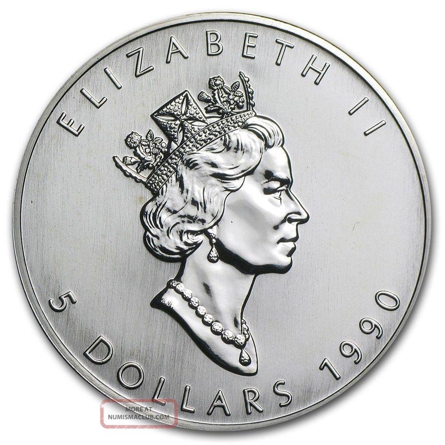 1990 Canada Maple Leaf Coin Silver Bullion 1 Oz Silver