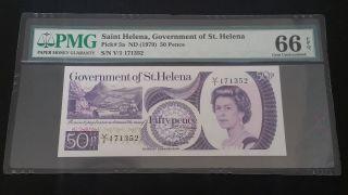 Saint Helena 50 Pence 1979 P 5a Gem Unc Pmg 66 Epq photo