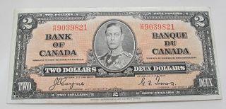 1937 Bank Of Canada $2 Dollars Banknote Bc - 22c Crisp Prefix K/r9039821 photo