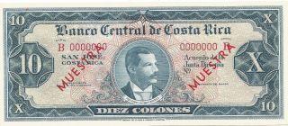 Costa Rica: Specimen Banknote - 10 Colones - Series B - P229s - Unc photo