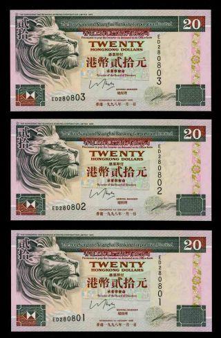 1998 Hong Kong Shanghai Corp Ltd 20 Dollars 3 Banknote Consecutive Numbers P201c photo