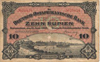 1905 Deutsch - Ostafrikanische Bank - German East Africa 10 Rupien Good Pick: 2 photo