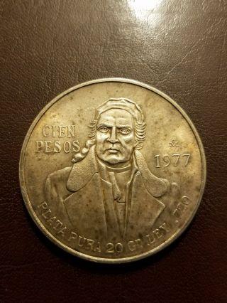 1977 Mexican Silver Cien,  100 Pesos,  20.  0 Grams photo