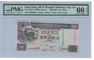 Hongkong 20 Dollars 1998 - 2002 Pick 201d Fancy S/n Pl 000068 Pmg:66 Epq (771) photo