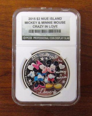 Niue 2015 $2 Disney - Crazy In Love Mickey & Minnie Mouse Proof 1 Oz Silver Coin photo