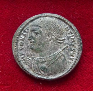 Constantine I Cyzikus Silvered Follis Ae3 Jupiter Holding Nike 306 - 337 Ad photo