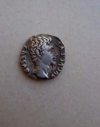 Roman Empire Augustus Ar Denarius 27bc Lugdunum R Gaius Amp Lucius Caesars Silve photo