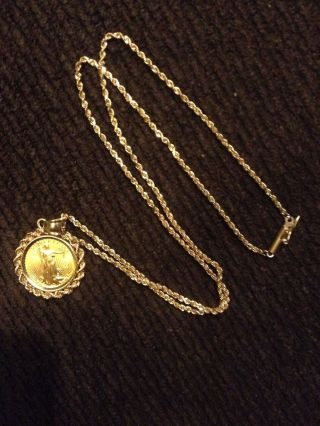 14k Yellow Gold Chain Necklace W/ Unique 1992 1/10th Oz.  $5 U.  S.  Gold Coin photo