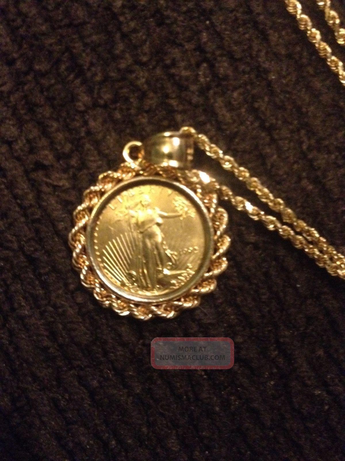 14k Yellow Gold Chain Necklace W Unique 1992 1 10th Oz 5 U S Gold Coin
