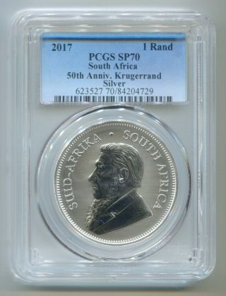 South Africa 2017 First Ever 50th Anniversary Silver Krugerrand Pcgs Graded Sp70 photo