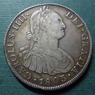 Bolivia Silver Coin 8 Reales,  Km73 Vf,  1803 Pj (potosí) photo