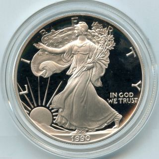 1990 American Eagle Fine Silver Dollar Proof Coin - 1 Oz Bullion Us - Ku849 photo