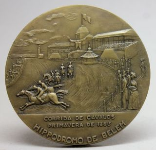 Belem Hippodrome 1885 Horse Race/ Turf Club 1883 - 1973 Anniversary Bronze Medal photo