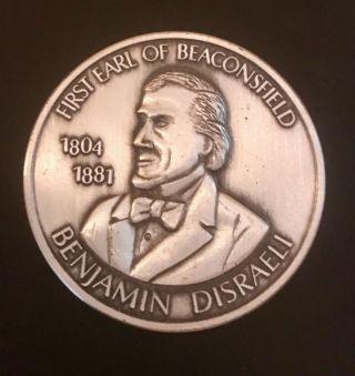 Benjamin Disraeli First Earl Of Beaconsfield Coin - 1 Oz.  999 Silver,  1970 photo