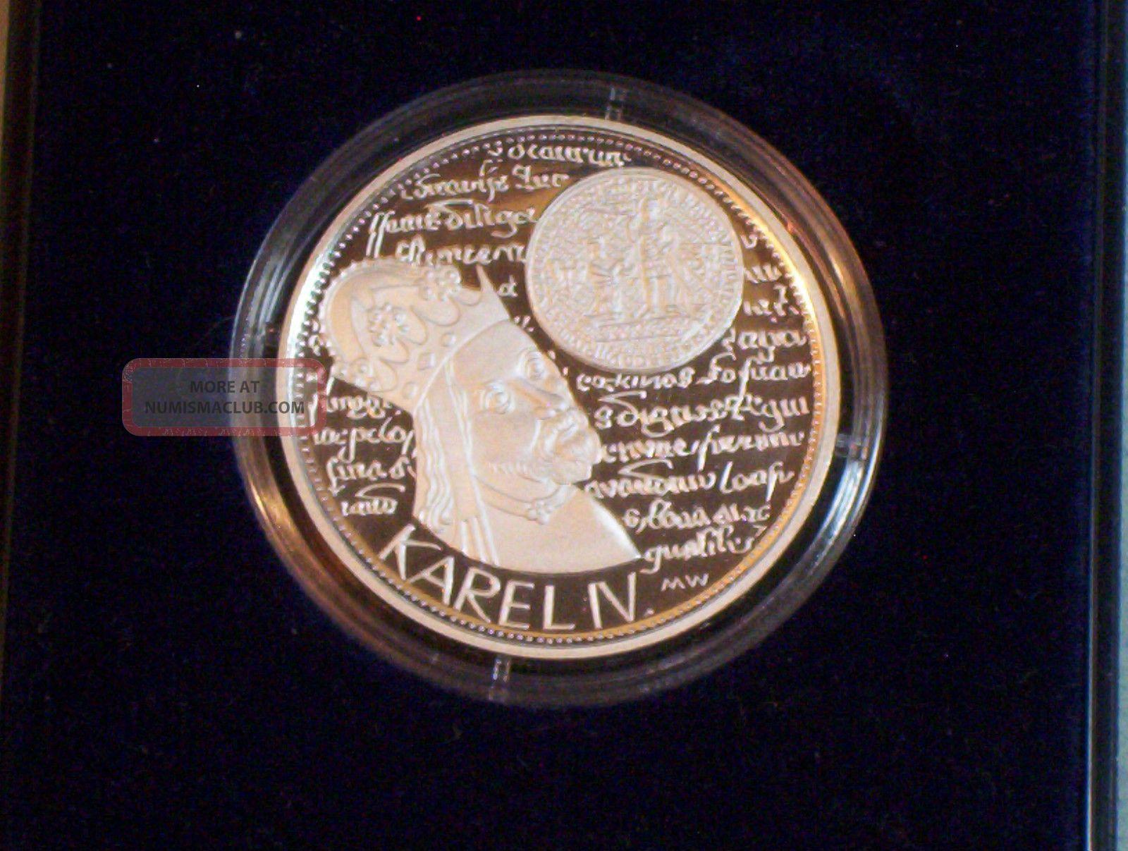 1998 Czech Republic 200 Korun Silver Proof Coin King Charles Iv Czechoslovakia Czech Republic photo