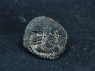 Ancient Bronze Coin Bactrian 100 Bc S6150 photo