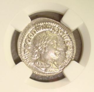 Ad 238 - 244 Gordian Iii Ancient Roman Silver Denarius Ngc Ms 4/5 4/5 photo